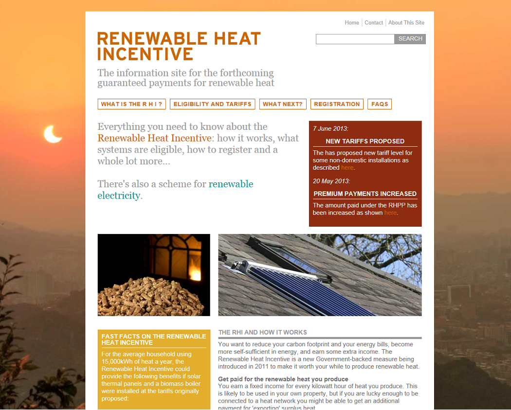 The website on the Renewable Heat Incentive