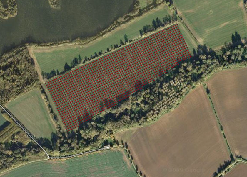 Typical initial solar park layout used for assessment software (Don't worry - the trees to the South were due to be lopped!)