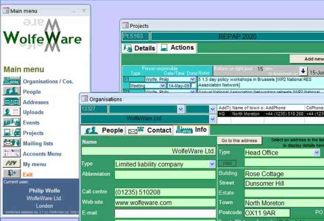 Sample screen-shots from WolfeWare business management software